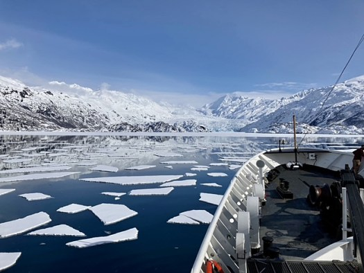 NOAA Ship Fairweather looking towards Yale Arm Glacier in College Fiord, Spring 2021