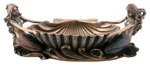 "9.5""L Cold Cast Bonded Bronze Double Mermaid Dish"