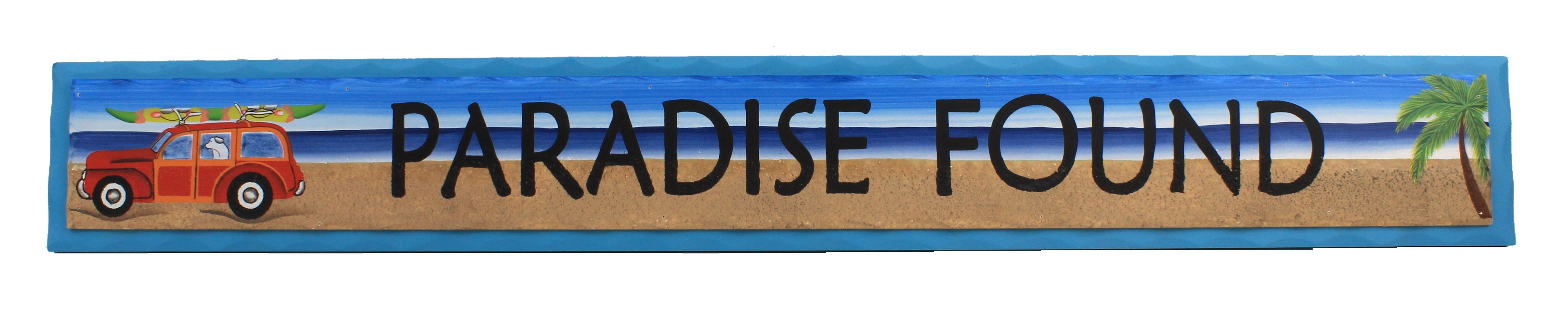"35"" Paradise Found Wooden Sign - Hanging Beach Decor"