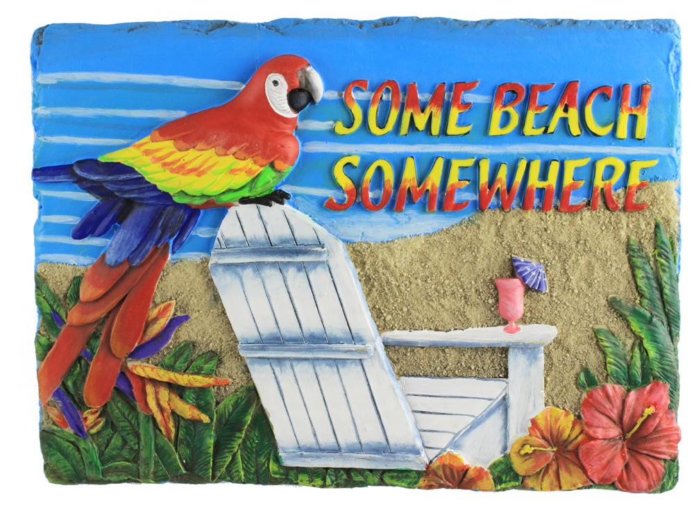 """10"""" Resin Some Beach Somewhere Plaque"""