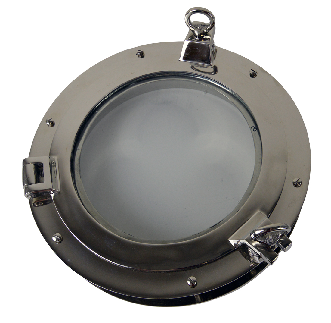 """16"""" Nickel Finish over Solid Brass Heavy Porthole Window with 2.25"""" Deep Flange - Functional"""