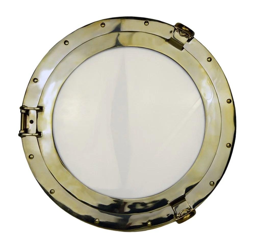 "20"" Solid Brass Porthole Window Nautical Tropical Home Decor"