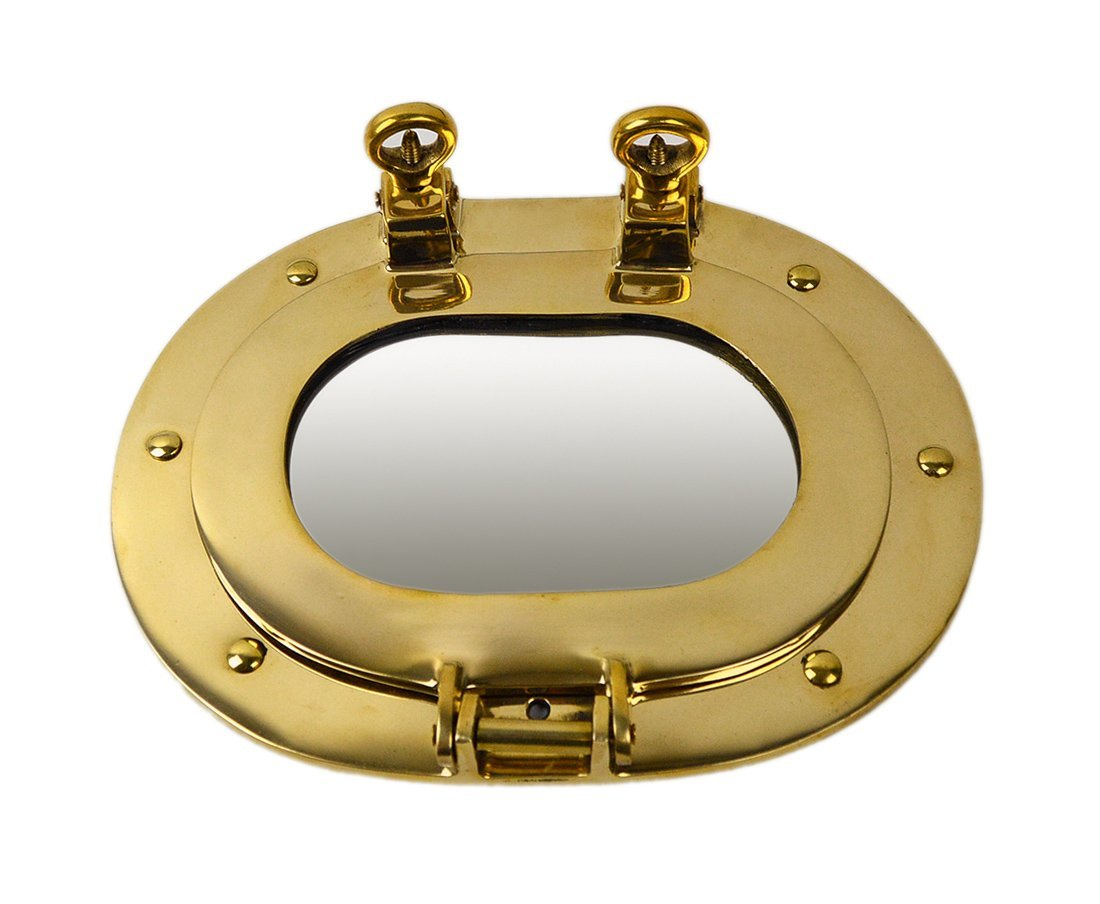 """9.5"""" Oval Solid Brass Wall Mount Porthole Mirror"""