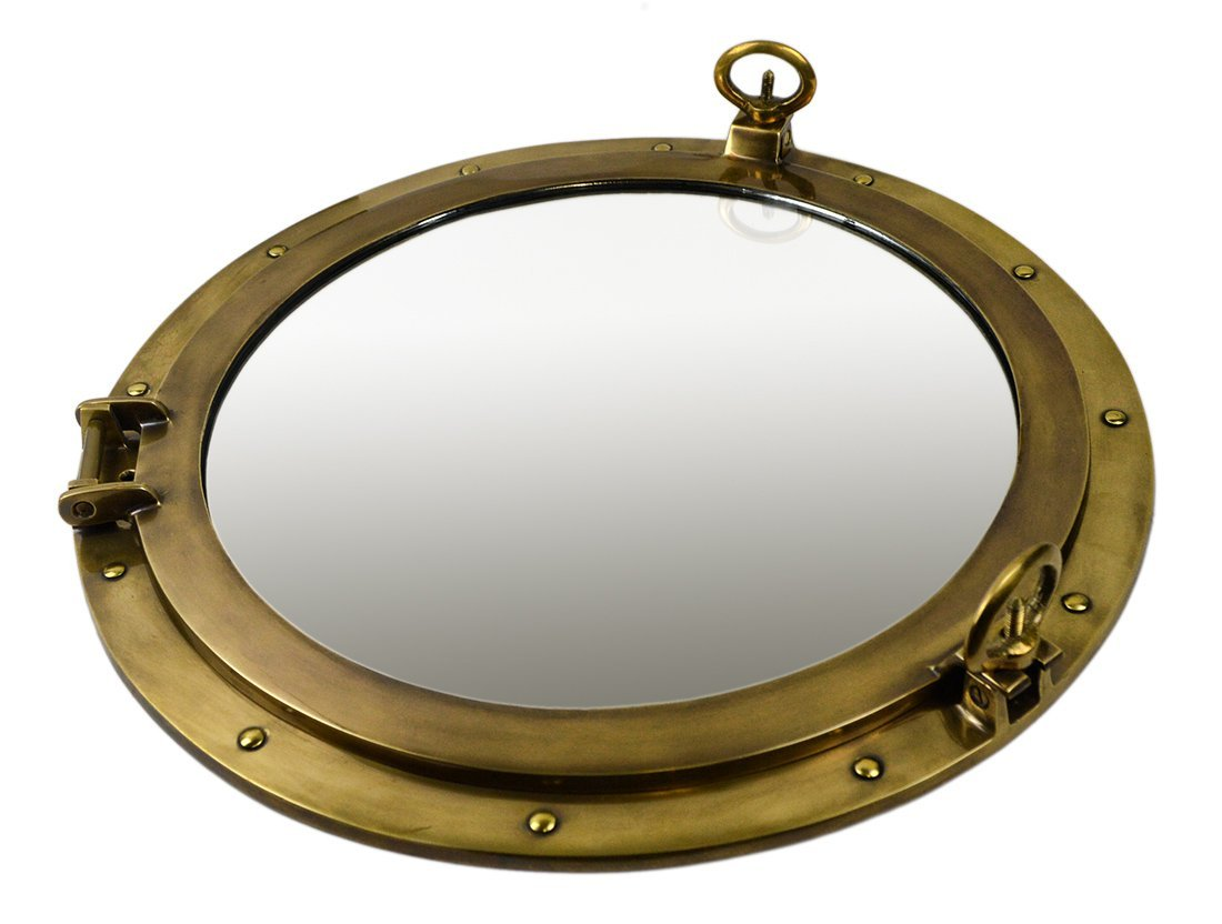 """20"""" Antique Brass Finish over Solid Brass Wall Mount Porthole Mirror"""
