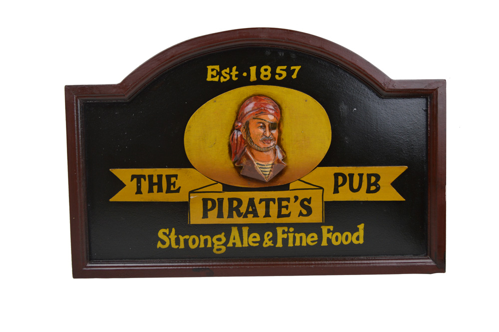 """21.75""""L The Pirate's Pub - Strong Ale & Fine Food Wall Decor Sign"""