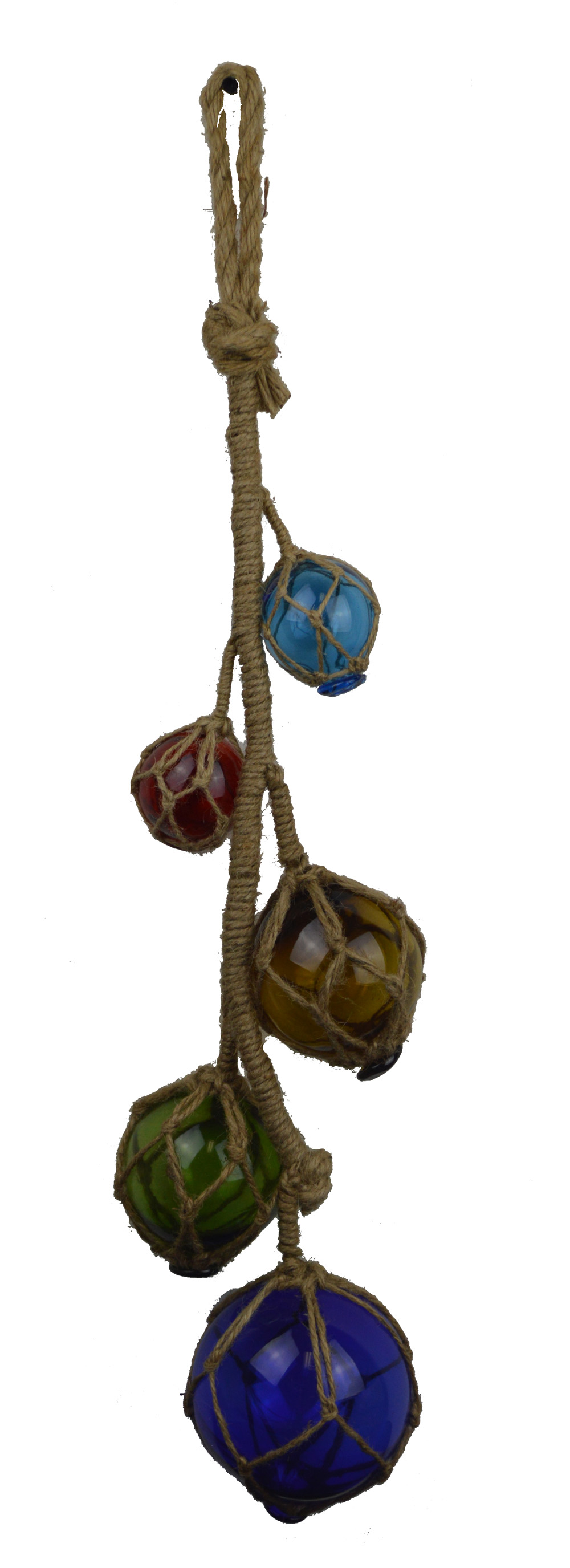 "27""L Five Glass Floats on Rope - Dark Blue, Red, Orange, Green, Light Blue"