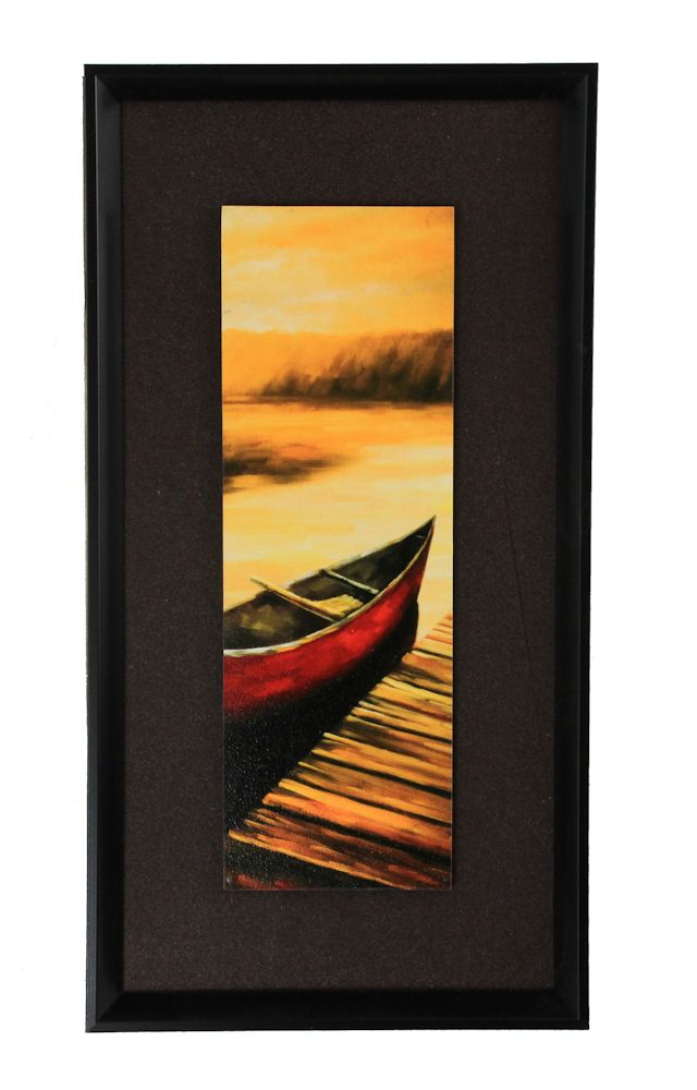 """15.75"""" Red Canoe Pier Scene Painting - Framed and Matted"""