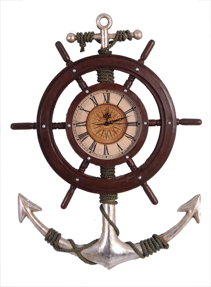 "33"" H Anchor and Shipwheel Wall Mount Clock"