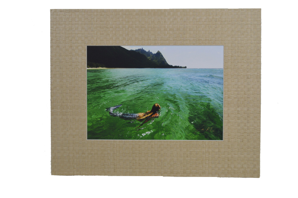"Aqueous 16""H x 20""L Print with Weaved Grass Matte Frame"