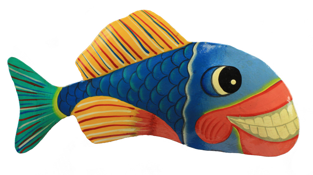 "9.5"" Grinning Fish Metal Wall Art – Blue & Red Striped"