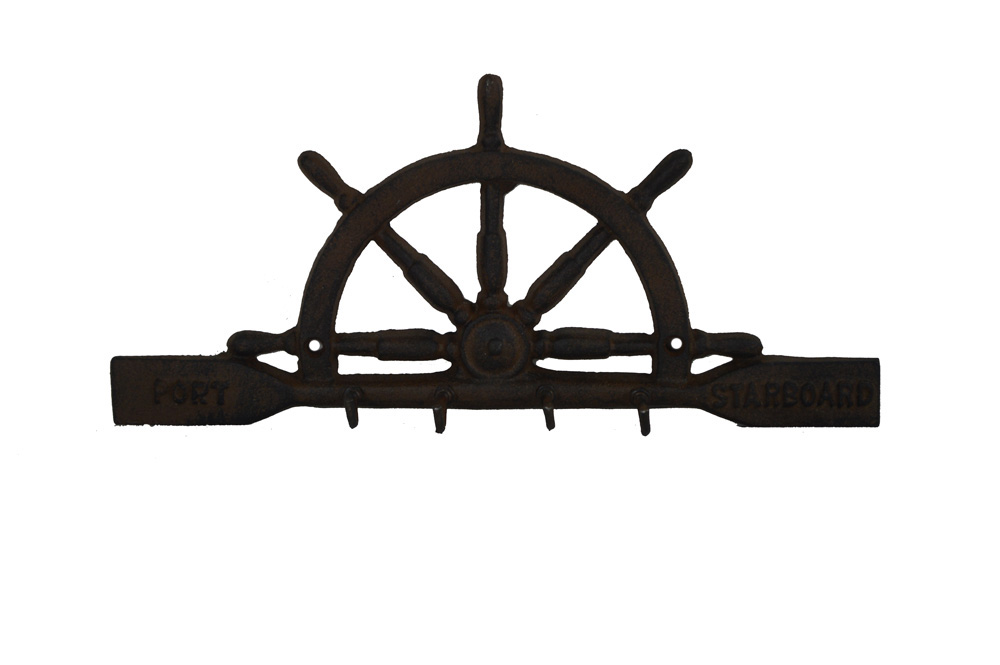 "10.5""L Cast Iron Ships Wheel Shaped Key Rack Wall Decor"