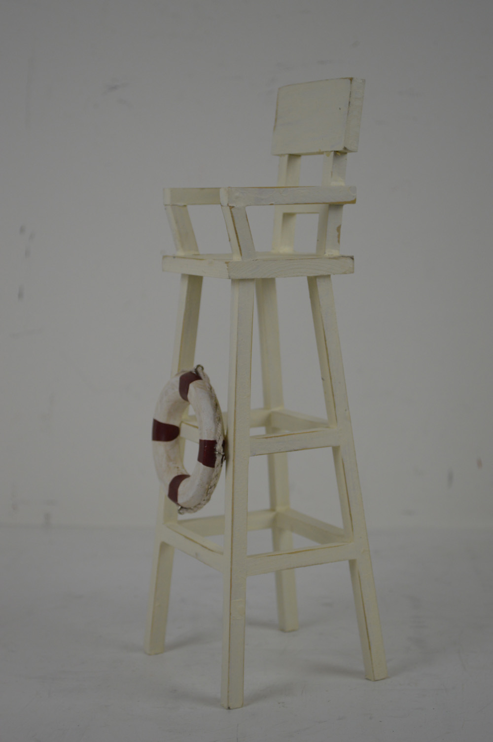 "12""h Wooden White Lifeguard Chair Figurine"