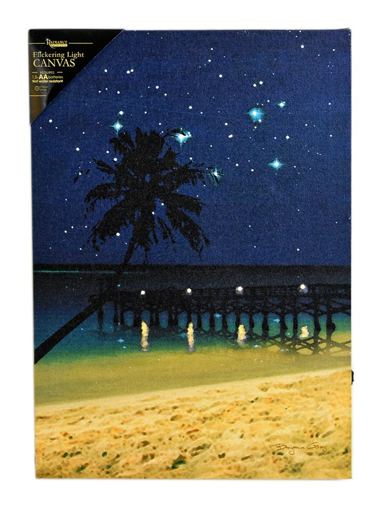 """17""""l Starry Night Lighted Beach Wall Mount Canvas"""