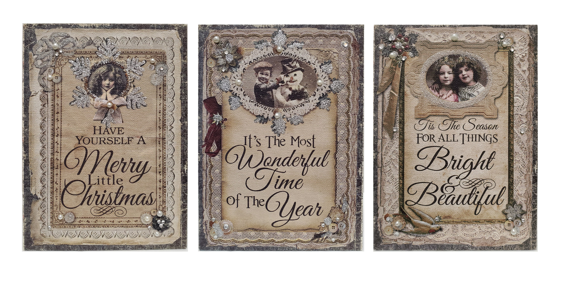 Set of 3 Vintage Style Christmas Wooden Plaques - Seasonal Holiday Wall Decor