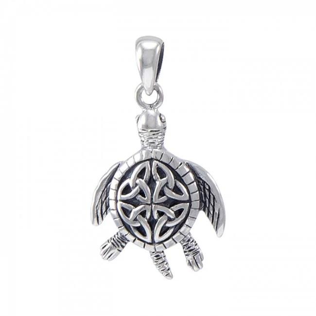 Sterling Silver Celtic Design Sea Turtle Pendant