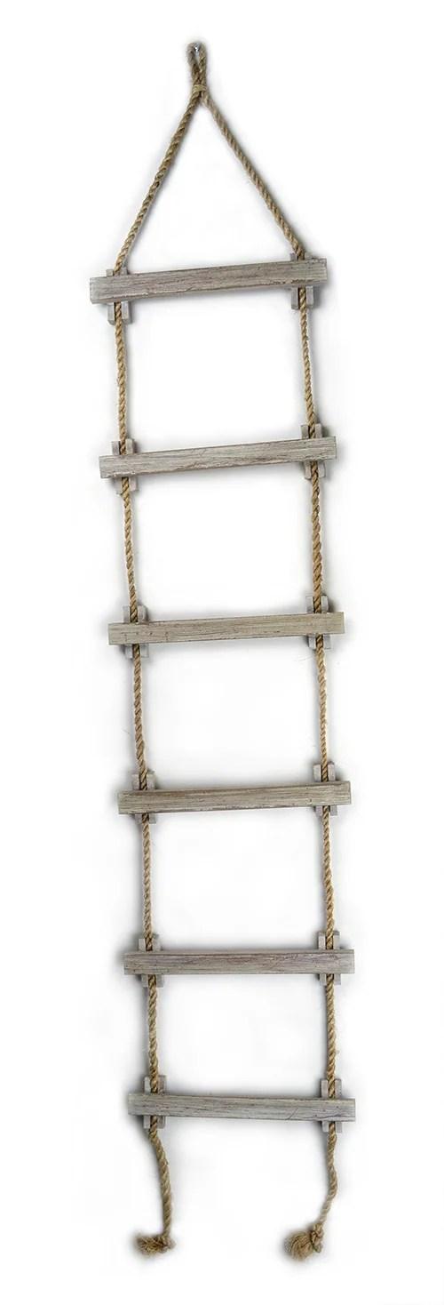 "72""L White Wash Wood & Rope Nautical Ladder Decor"