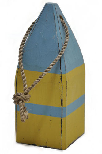 "7.5""H Sky Blue & Yellow Wooden Square Buoy with Rope Decor"