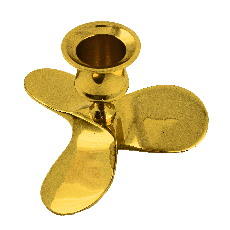 "Boat Propeller Candle Holder Solid Brass 4.5""h"