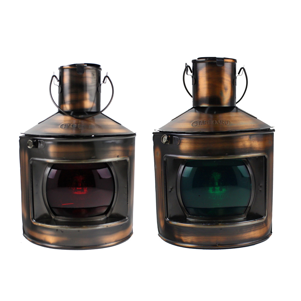 "9"" H Set of 2 Copper Plated Port and Starboard Oil Lanterns"