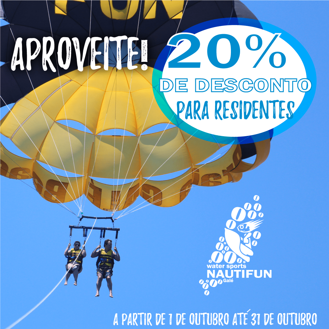Trabalhou no Verão? Aproveite agora! A diversão continua, agora com desconto de 20% para residentes! Válido para todas as atividades. Did you work in the summer? Have fun now! The fun continues now with 20% discount for residents! Valid for all ativities. #nautifun #praiadagale #albufeira #algarve #desportosnauticos #watersports  #sea