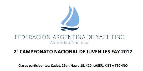 AVISO DE REGATA – 2º CAMPEONATO NACIONAL JUVENIL FAY – 2017