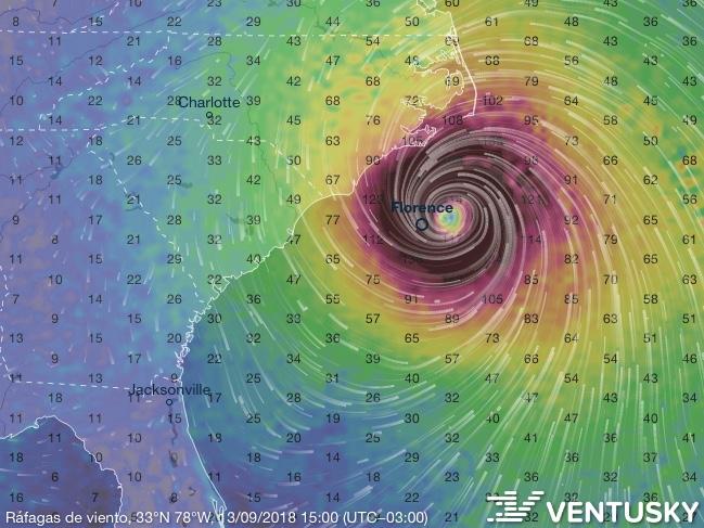 Huracán Florence . Seguí en vivo la trayectoria
