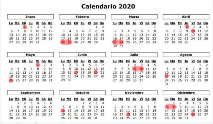 Feriados 2020 Argentina. Fin de semana puentes