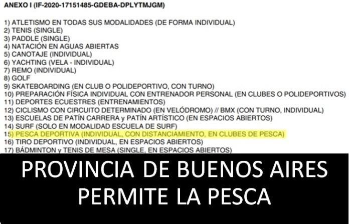 Provincia de Buenos Aires permite la pesca.