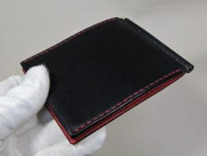 板バネポケット付きマネークリップ黒x赤
