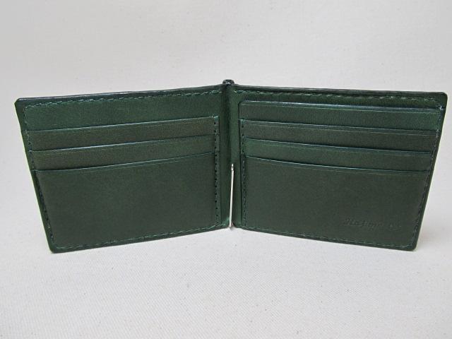 マネークリップ サメ革x深緑 190102