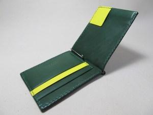 マネークリップ深緑x黄191010
