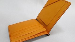 コードバンマネークリップ210617オレンジ革製品