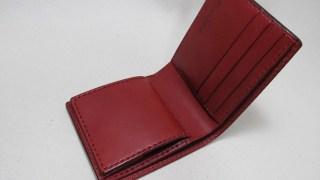 赤い二つ折り財布ボックスコイン210702レッド革