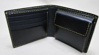 コードバン二つ折り財布210708黒