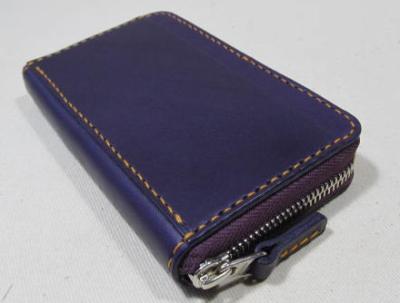 フルラウンドファスナーコインケース3室紫革
