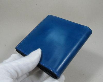 ブルーレザー二つ折り財布