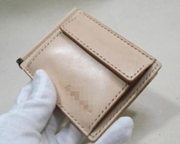 ヌメ革札バサミ3連カード入れ小銭入れ
