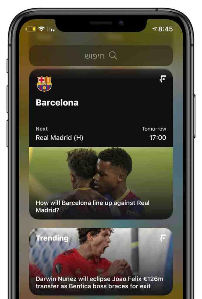 ווידג׳טים מומלצים לאייפון. ווידג׳ט הכדורגל של FotMob