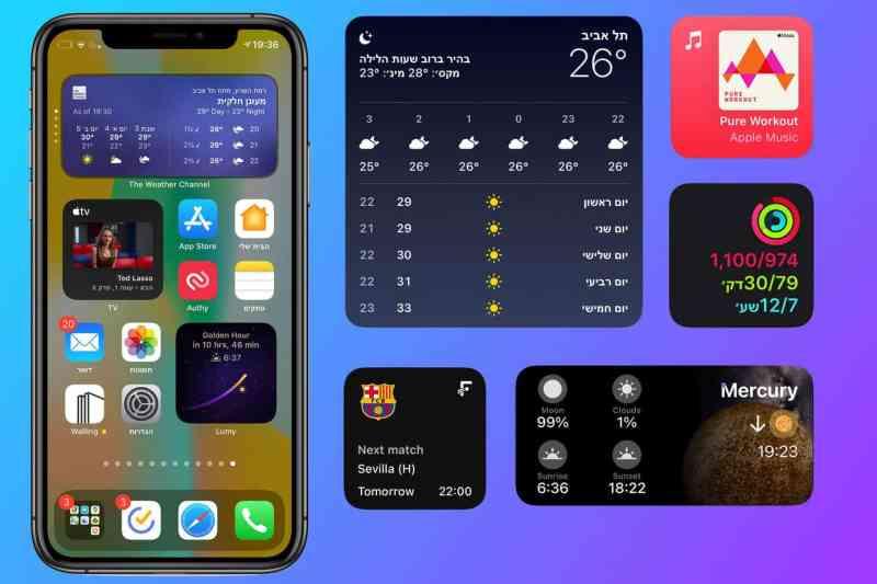 ווידג׳טים ios 14 לארגן את מסך הבית באייפון עם ווידג׳טים