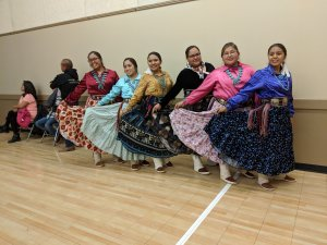 Navajo dancers in pretty dresses