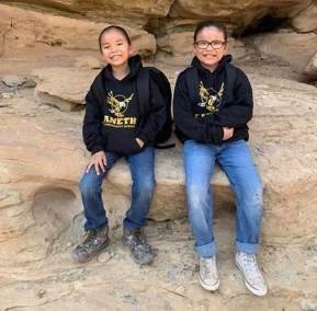 Navajo Santa goes to school students