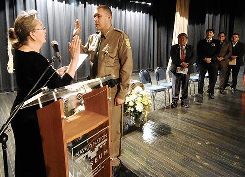 NAVAJO TIMES | DONOVAN QUINTERO New Chief of Police Phillip Francisco is sworn in Monday.