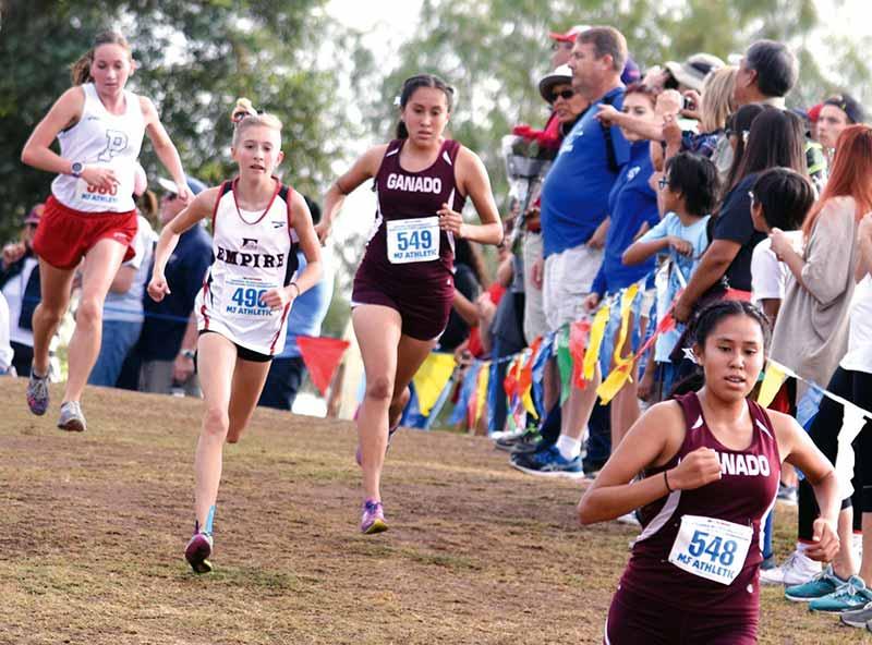 Pack of girls run on grass track