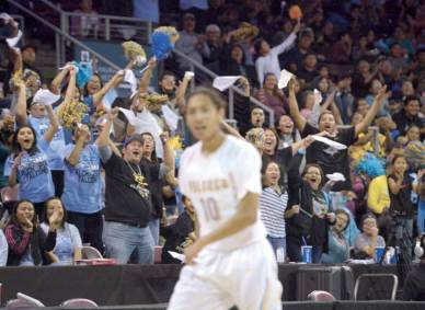 Navajo Times | Donovan Quintero Alchesay Falcons fans cheer on Harley Upton (10) and the rest of their team during the Arizona 2A boys state quarterfinals against the Scottsdale Prep Spartans in Prescott Valley, Arizona, on Saturday.