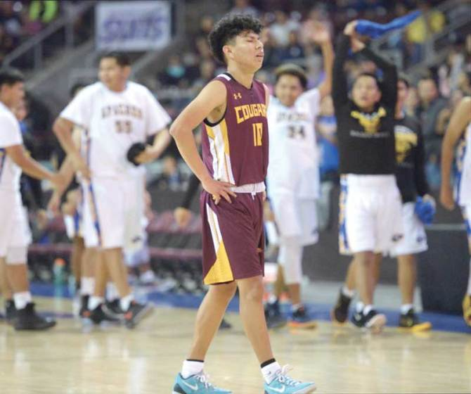 Navajo Times | Donovan Quintero Rock Point Cougar Cory Begay (10) becomes emotional after being knocked out of the Arizona 1A boys state quarterfinals by the Fort Thomas Apaches Saturday at the Prescott Valley Events Center in Prescott Valley, Arizona.