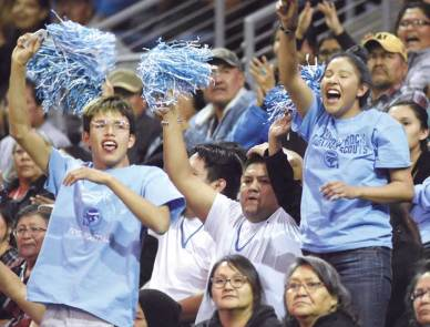 Navajo Times | Donovan Quintero Window Rock Lady Scout fans cheer on their team from the stands Monday during the Arizona 3A girls state quarterfinals against Sabino Lady Sabercats at the Prescott Valley Events Center in Prescott Valley, Arizona.