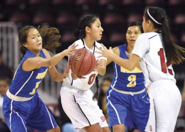 Navajo Times | Donovan Quintero Lady Cardinal Ali Upshaw, center, passes the ball to teammate Star Anderson (12) on Saturday during the Arizona 1A girls championship game in Glendale, Ariz.