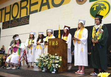 Navajo Times | Paul Natonabah The top 10 honor students were introduced and recognized with plaques during Thoreau High School's graduation ceremony on Saturday, May 18. Seventy-three seniors graduated.