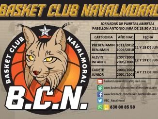 Convocatoria Jornadas de puertas abiertas Basket Club Navalmoral