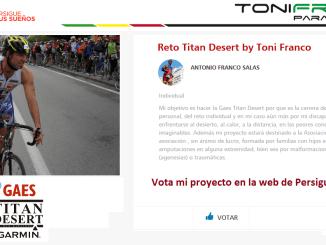 """Ayuda a Toni Franco a conseguir una BECA Persigue tus sueños by GAES, """"Reto Titan Desert by Toni Franco"""""""